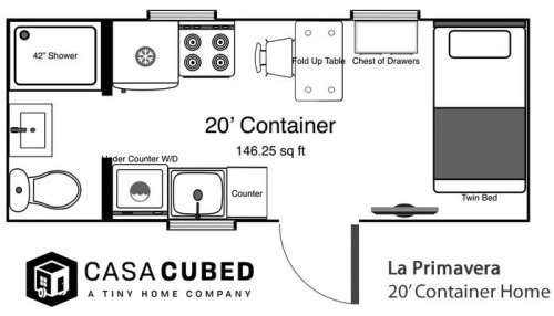 The 20' Casa Cubed container house gives you up to 160 square feet.