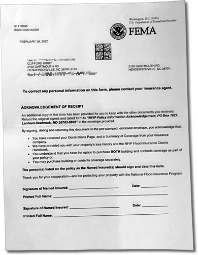 Acknowledgement of Receipt from FEMA about Flood Insurance