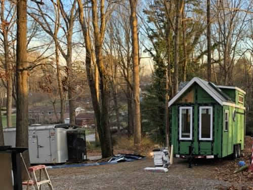 The Tiny House Shell moved to it's new location