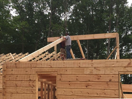 Roof package: 6 x 6 support posts, 4 x 12 ridge beams, 4 x 8 rafters, 4 x 8 collar ties and 2 x 6 tongue and groove decking