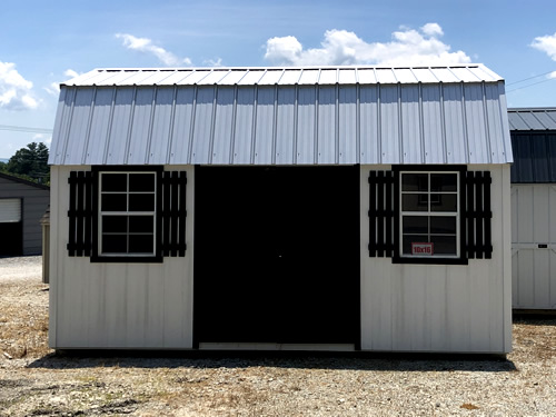 10x16 Metal Lofted Barn with Double Doors and Shutters