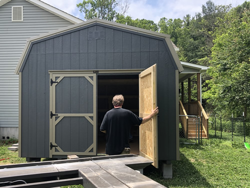 Cliff checking out his new barn