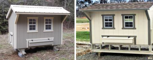 Standard Quaker Coop on left Standard Quaker Coop with Lower Run on Right from Carolina Storage Solutions