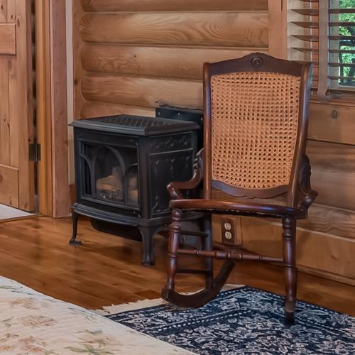 Jotul GF 100 DV Nordic QT in the log cabin bedroom