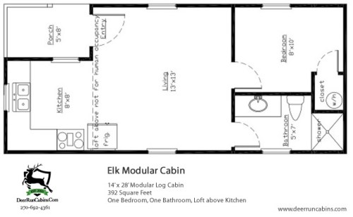 Standard 14 x 28 Elk Modular Cabin plan