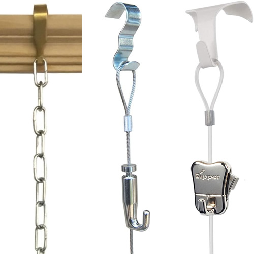 Picture Rail with hook and chain Hook and stainless steel wire cable with locking adjustable hook from the Picture Hang Solutions Store Hook and Nylon Cord with Adjustable Zipper Hook from the Picture Hang Solutions Store