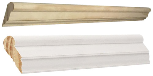 Above: Lowes L002738 Pine Unfinished Finger Joint Picture Moulding Ready to stain or prime and paint, $12.28/8-foot piece, $1.53/foot Below: Home Depot WM273 Prime Finger-Jointed Picture Mould Pre-primed, ready to paint, $1.64/ft.