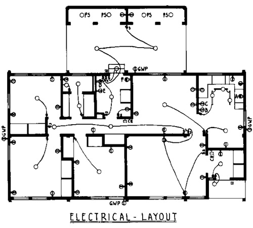 Pole and Panel 3 Bedroom Farmhouse House Plan - Electrical Layout