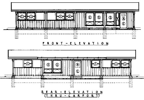 Pole and Panel 3 Bedroom Farmhouse House Plan - Front and Rear Elevations