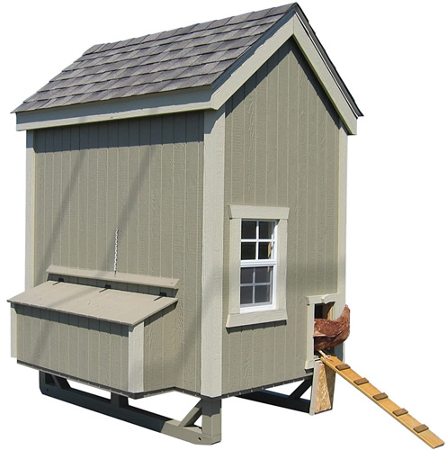 Green Paint and Trim on a 4' x 6' Little Cottage Company Chicken Coop Kit
