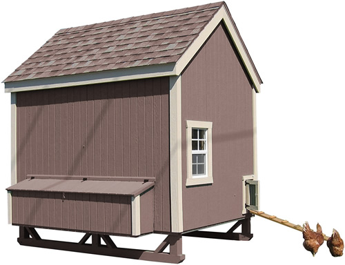 Cocoa Brown Paint and brown shingles on a Little Cottage Company Chicken Coop Kit