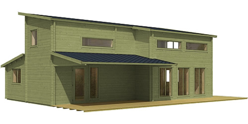 Allwood Eagle Point Cabin with Green Opaque Stain