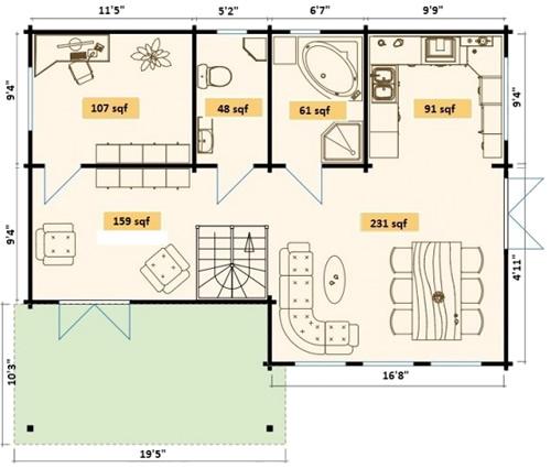 Allwood Eagle Vista Cabin Downstairs Floor Plan