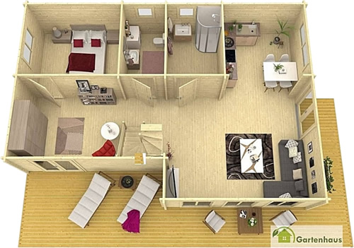 Allwood Eagle Vista Cabin Downstairs Layout