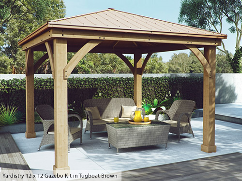 Yardistry Wood Gazebo Kit with Tugboat Brown stain and roof