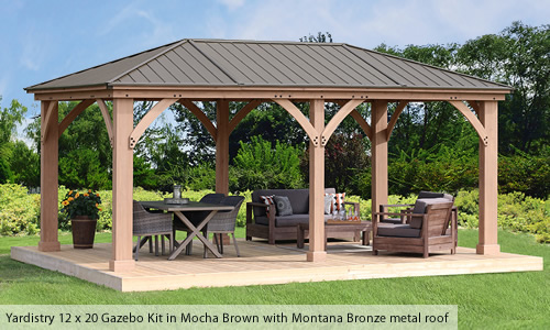Yardistry Wood Gazebo Kit with Mocha Brown stain and Montana Bronze metal roof