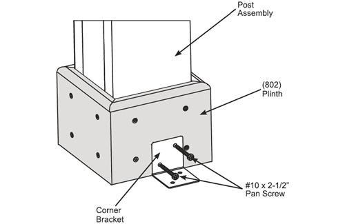 Corner bracket to secure the smallest pavilions
