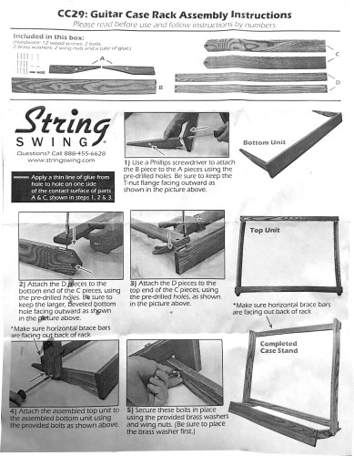 String Swing CC29 Guitar Case Rack Assembly Instructions