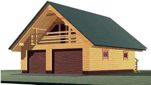 BG-117 24′ x 30,5' Two Car Log Garage with Office