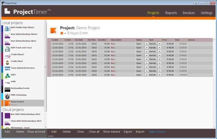 Project Timer invoicing