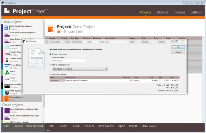 Project Timer Invoicing Software For Windows Project - Invoice software windows 7