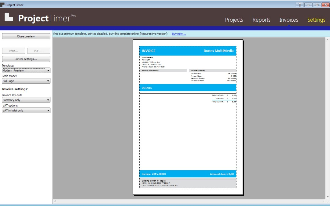Project Timer 1.1.2.0 – Invoicing software for windows