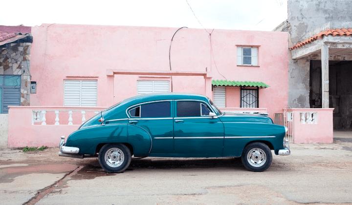 classic blue green car