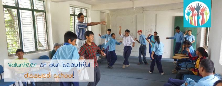 Volunteering at our disabled school in Kathmandu.