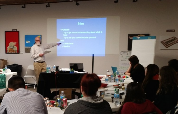 Attorney Brian Mellor conducting a voter registration training for Mi Familia Vota, December 2015