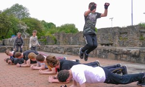 Parkour team strength training in action
