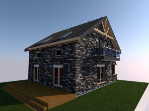 projekt elewacji z czarnej podpalanej cegły klinkierowej z blacha na dachy