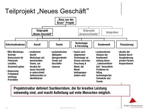 Beispiel eines Projektstrukturplans für ein Projekt 'Neugeschäft'