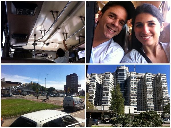 Dentro do ônibus que ia do aeroporto ao centro de Montevidéu e as primeiras imagens da cidade
