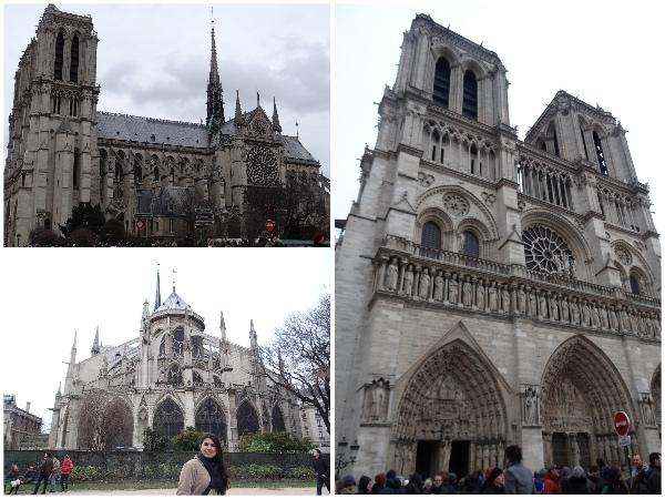 Notre Dame: lado, frente e fundo
