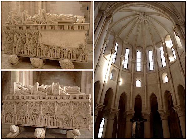 Em sentido horário: o túmulo de de D.Pedro I, o altar e o túmulo de Inês de Castro