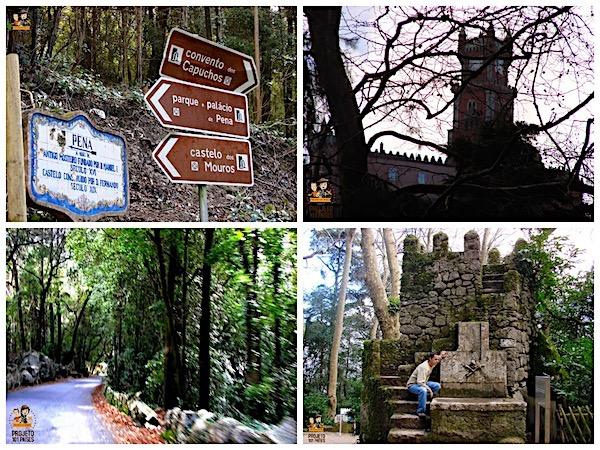 No sentido horário, o caminho para o Castelo dos Mouros, placa indicando os monumentos de Sintra, o Palácio da Pena e Fabrício pelas ruínas antigas no caminho para o Castelo dos Mouros