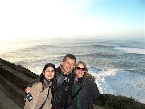 Com meu pai e minha madrasta, que nos levaram até esse lindo lugar