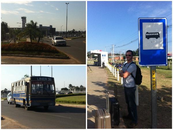 Aquela construção onde tem uma torre é o aeroporto e nós estávamos no ponto de ônibus; o ônibus 30 foi o que nos levou do aeroporto ao centro; o ônibus parou entre os dois pontos