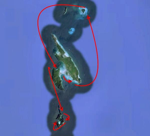 Rota do passeio de barco por Phi Phi
