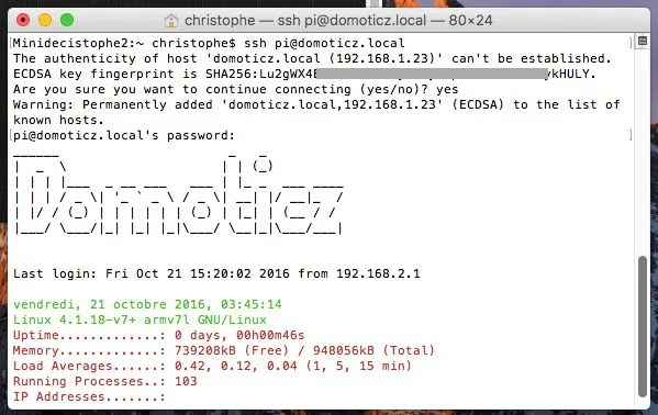 ssh domoticz.local