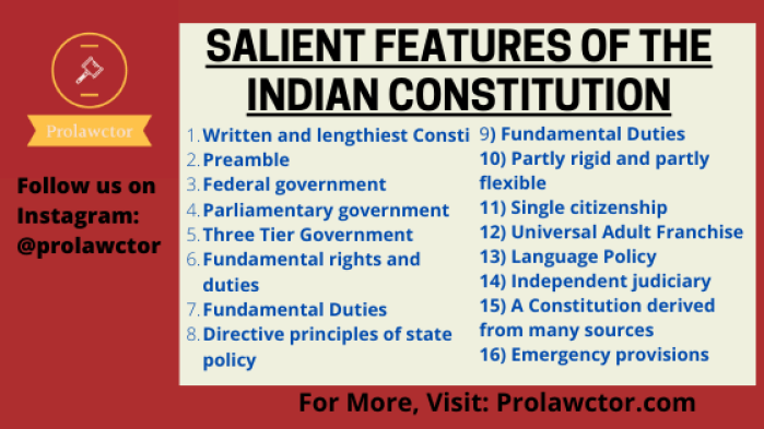 Salient Features Of The Indian Constitution: Consti Law Notes- Prolawctor