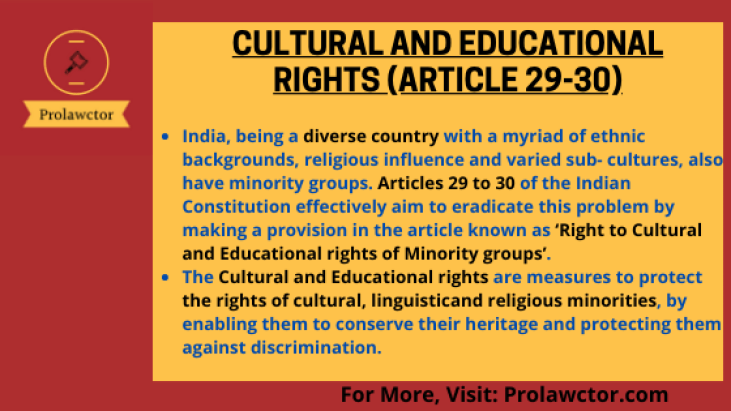 Cultural And Educational Rights (Article 29-30): Constitutional Law Notes- Prolawctor