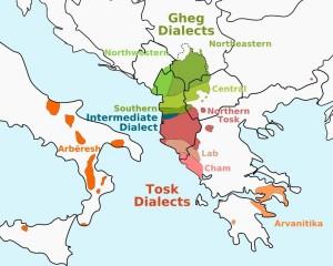 Harta e dialekteve shqiptare