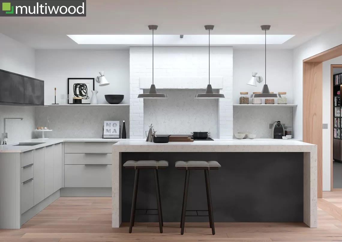 Multiwood Cosdon – Matt Light Grey & Black Steel Kitchen