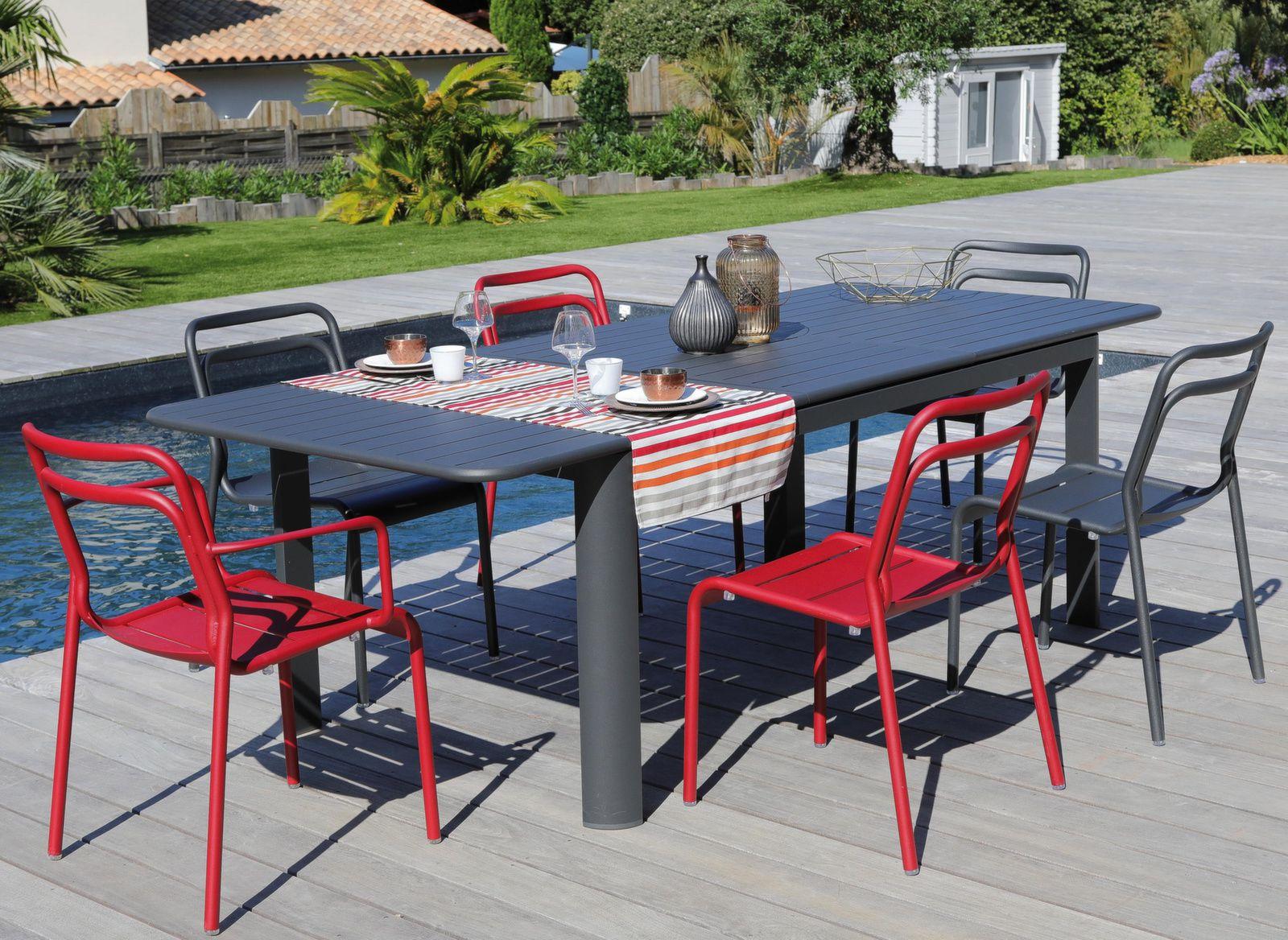 table eos 180 240 cm 6 chaises fauteuils eos