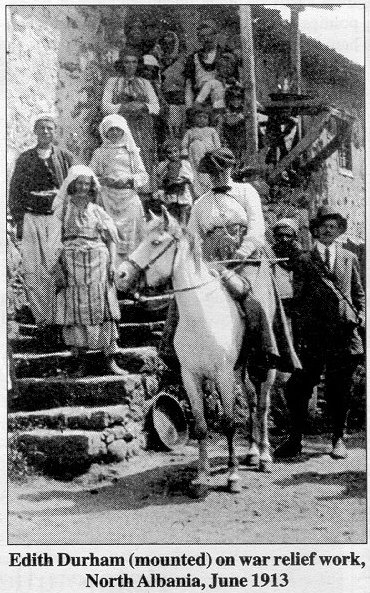 Edith Durham (mounted) on war relief work, North Albania, June 1913