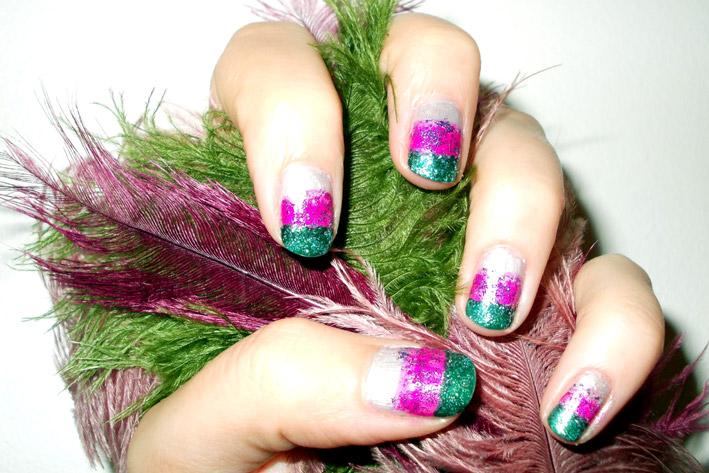 Glitter Nail Art Challenge Feathers