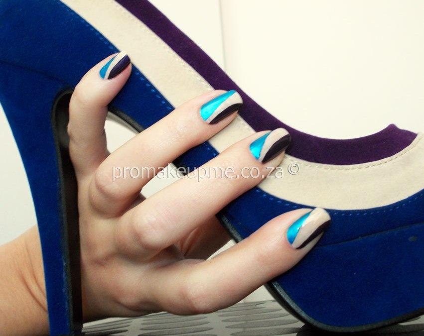 Blue Purple & Cream Colour Blocking Nail Art