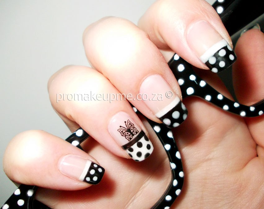 Black White French Tip Polka Dots Nail Art
