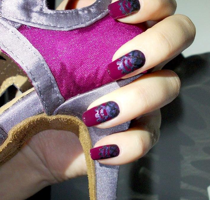Grape Lilac Lace Nail Art